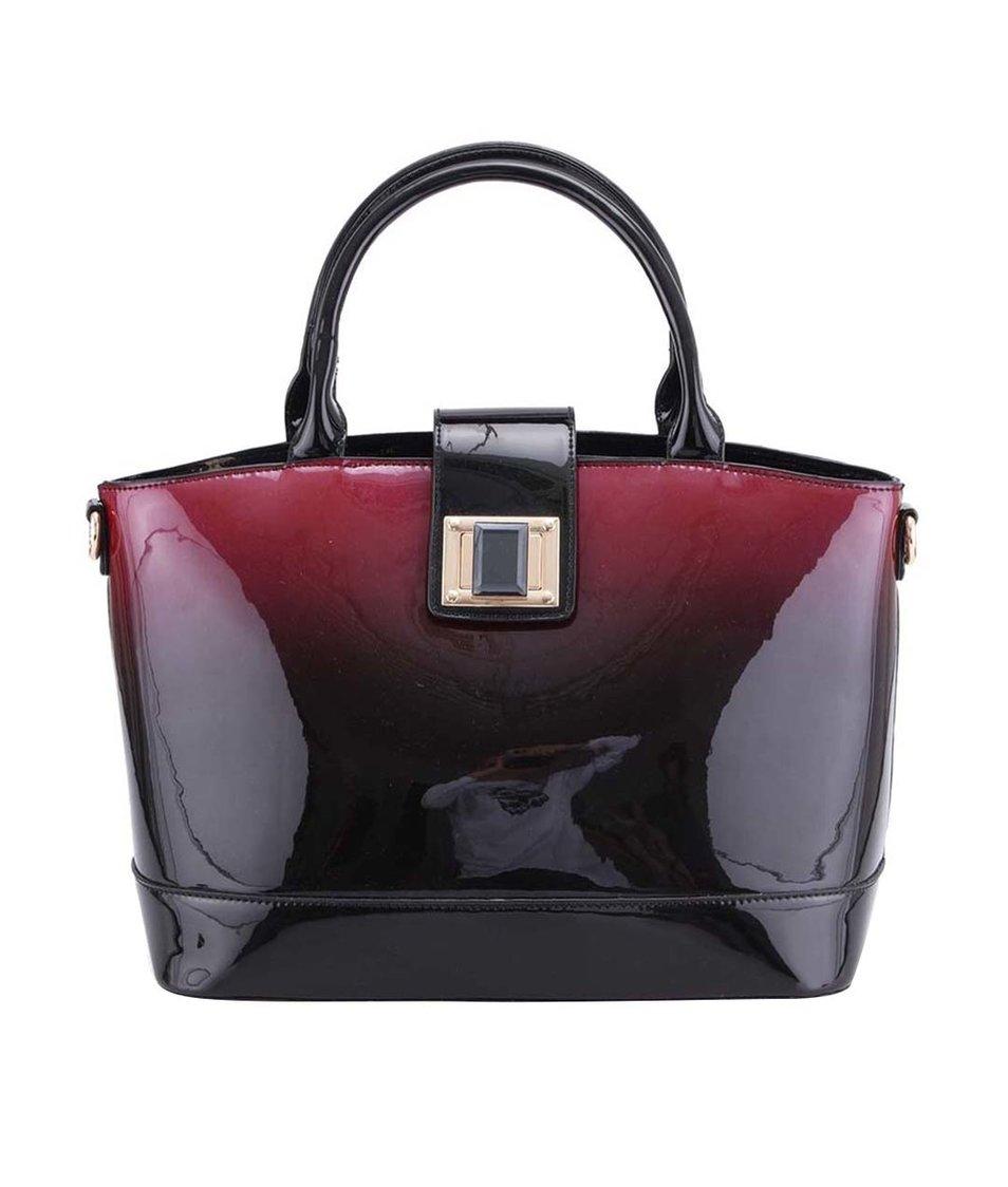 Černo-fialová lesklá kabelka s ombré efektem LYDC