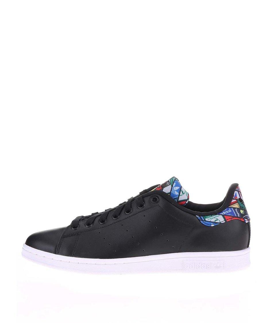 Černé pánské kožené tenisky s barevným vzorem adidas Originals Stan Smith