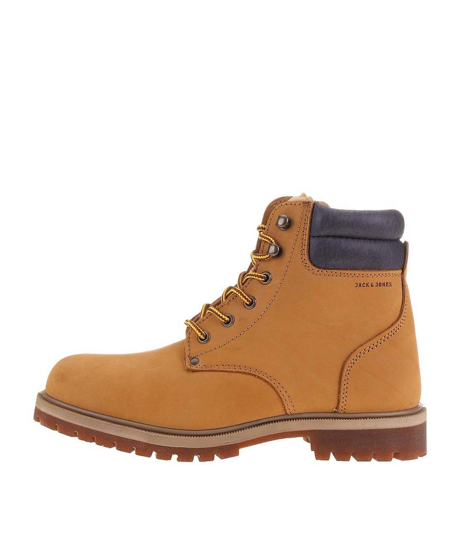 Světe hnědé kožené kotníkové boty Jack & Jones Stoke