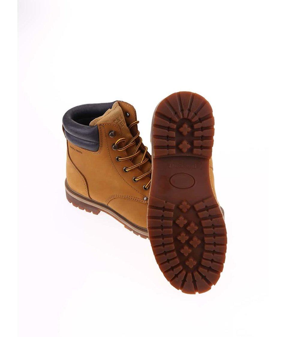 ebb3a49adca Světe hnědé kožené kotníkové boty Jack   Jones Stoke - Vánoční HIT ...