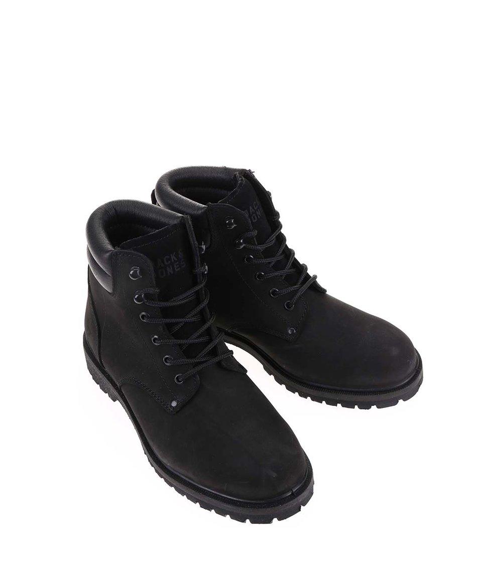 Černé kožené kotníkové boty Jack & Jones Stoke