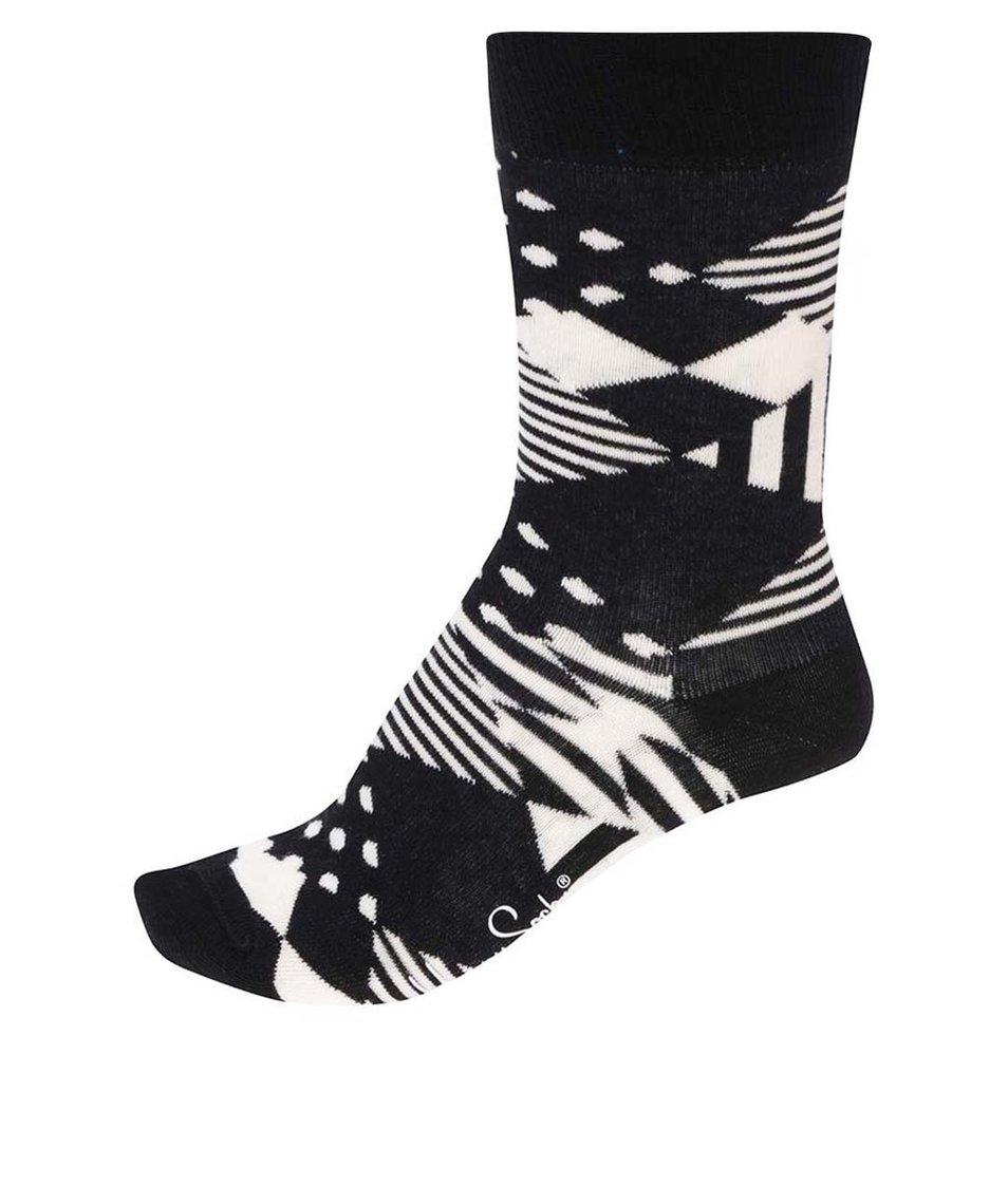 Bílo-černé dámské vzorované ponožky Happy Socks Multi Argyle