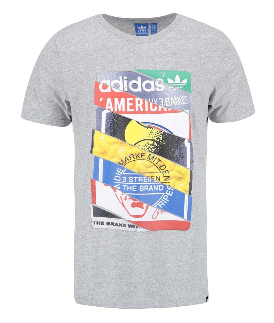 Šedé pánské triko s potiskem adidas Originals Label TEE