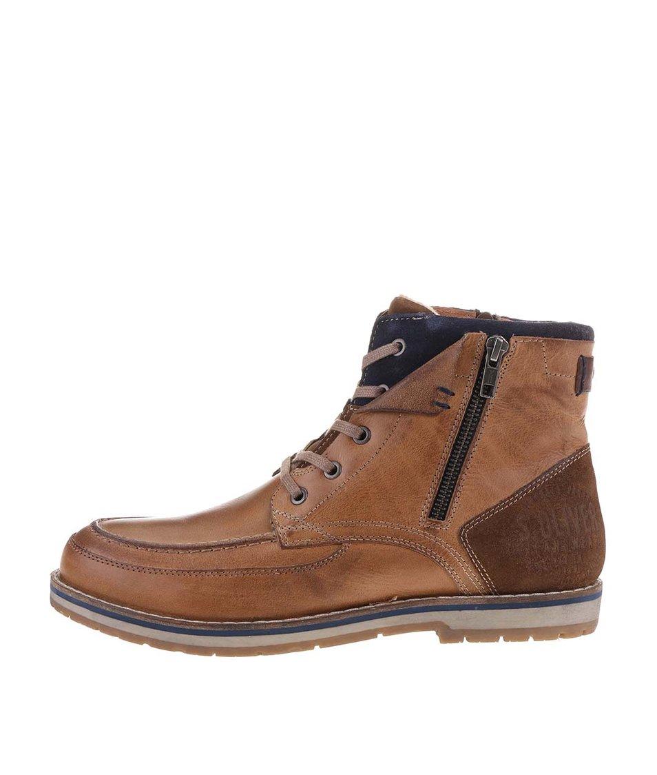 Hnědé pánské kožené kotníkové boty s modrými detaily s.Oliver