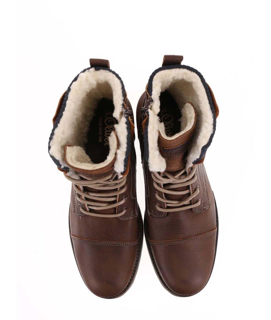 Hnědé pánské kožené kotníkové zimní boty s.Oliver - Akční cena ... 301a4cc687