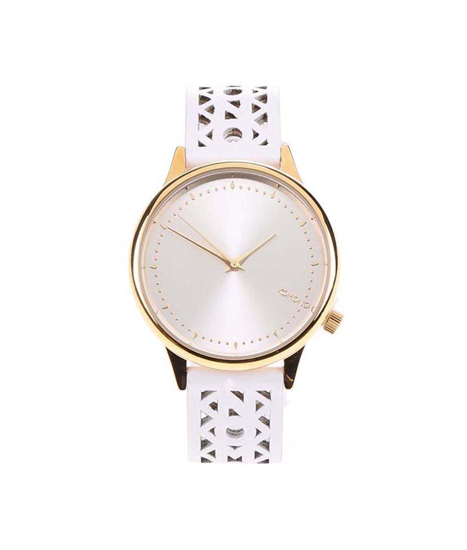 Bílé kožené dámské hodinky s perforovaným řemínkem Komono Estelle Cutout