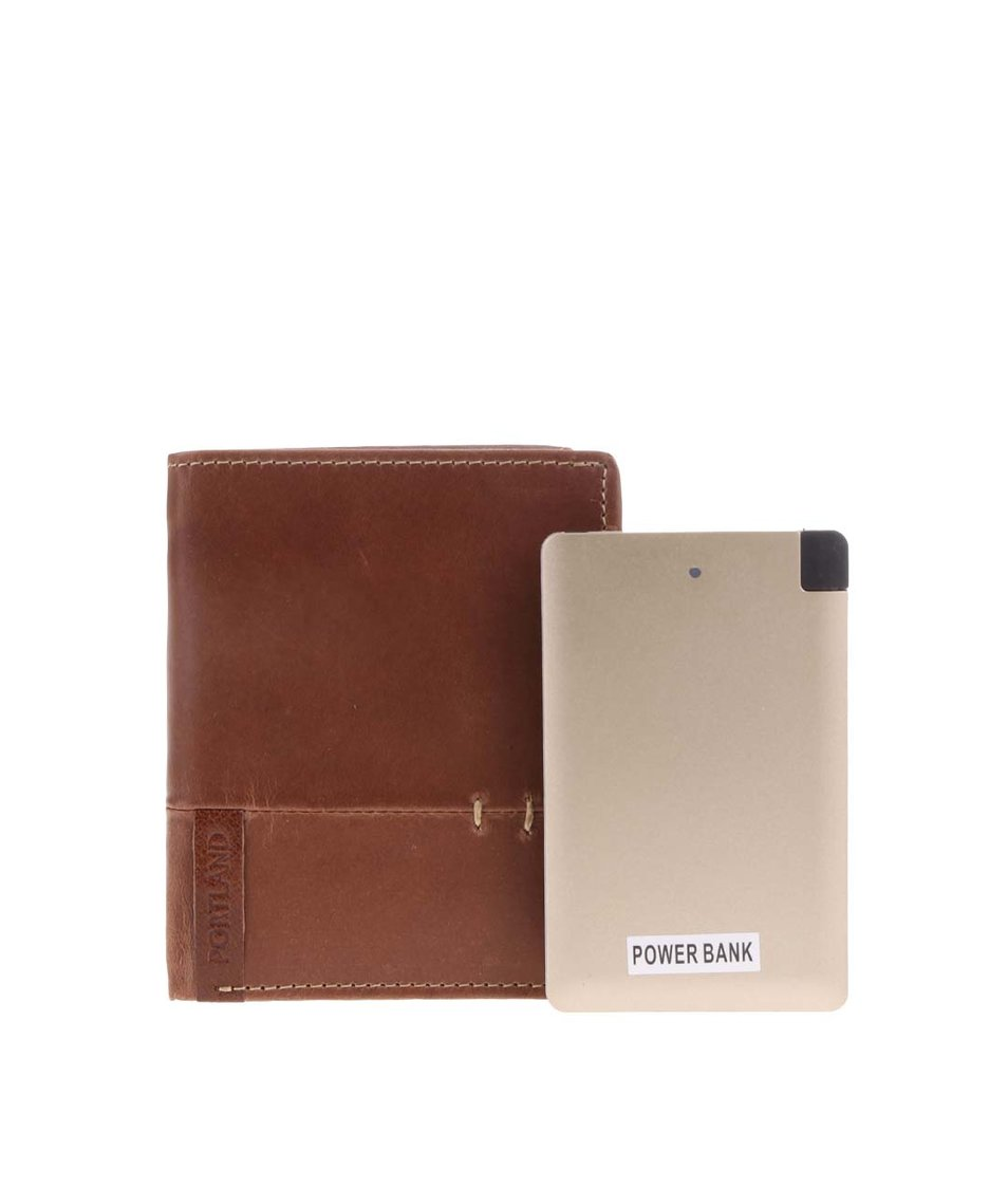 Set hnědé kožené peněženky a cestovní USB nabíječky Portland