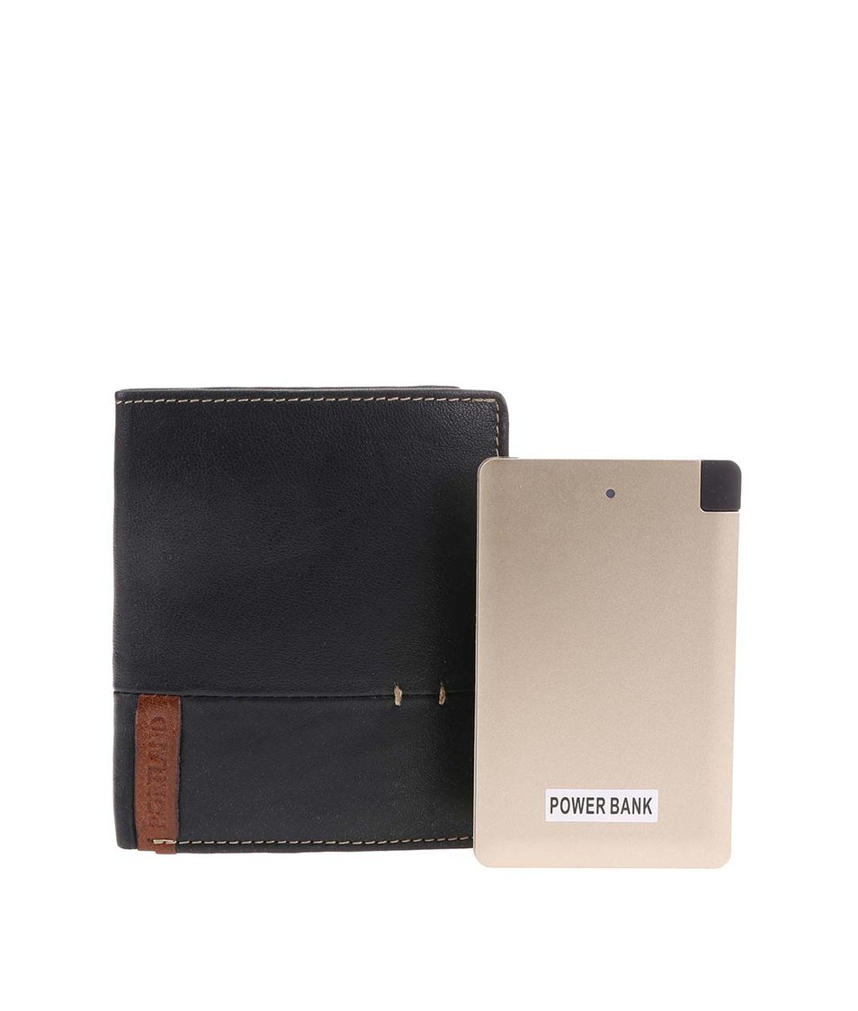 Set černé kožené peněženky a cestovní USB nabíječky Portland