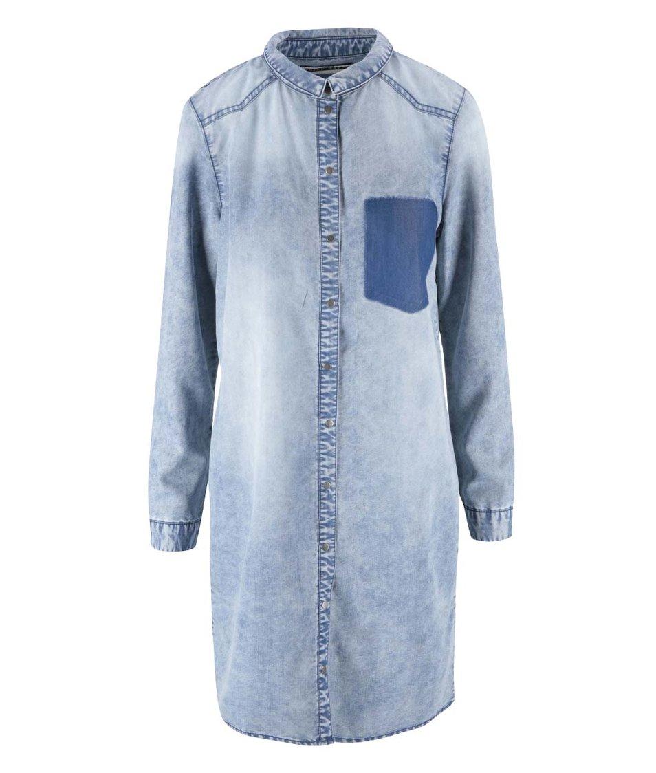 Modrá denimová dlouhá košile Noisy May Patric