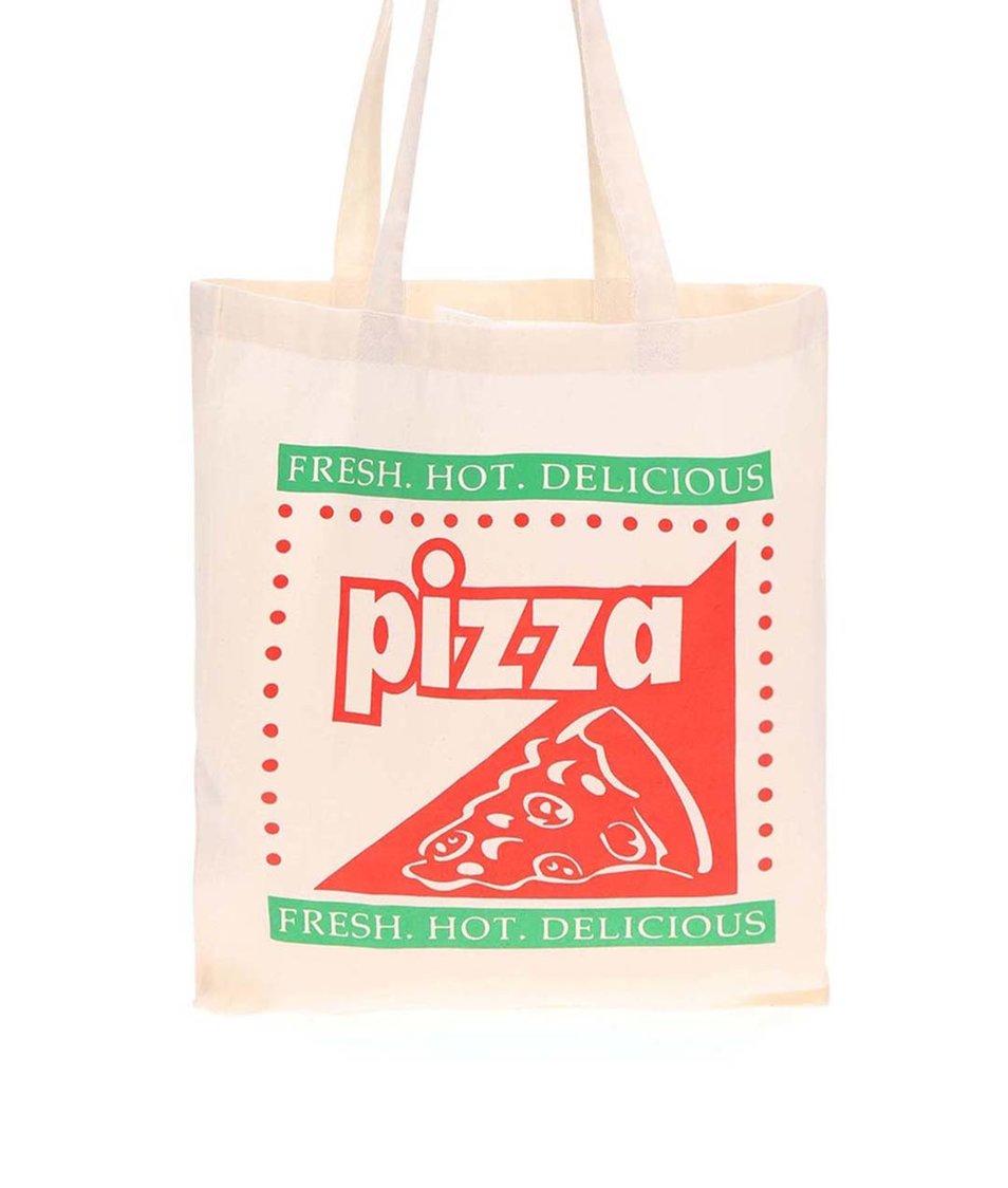 Krémová plátěná taška KUBA FERANEC Pizza