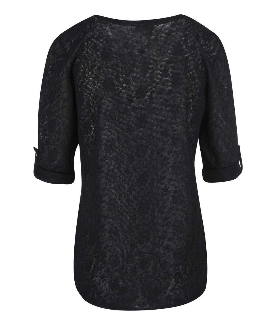 Černé tričko s 3/4 rukávem Vero Moda Rosalie