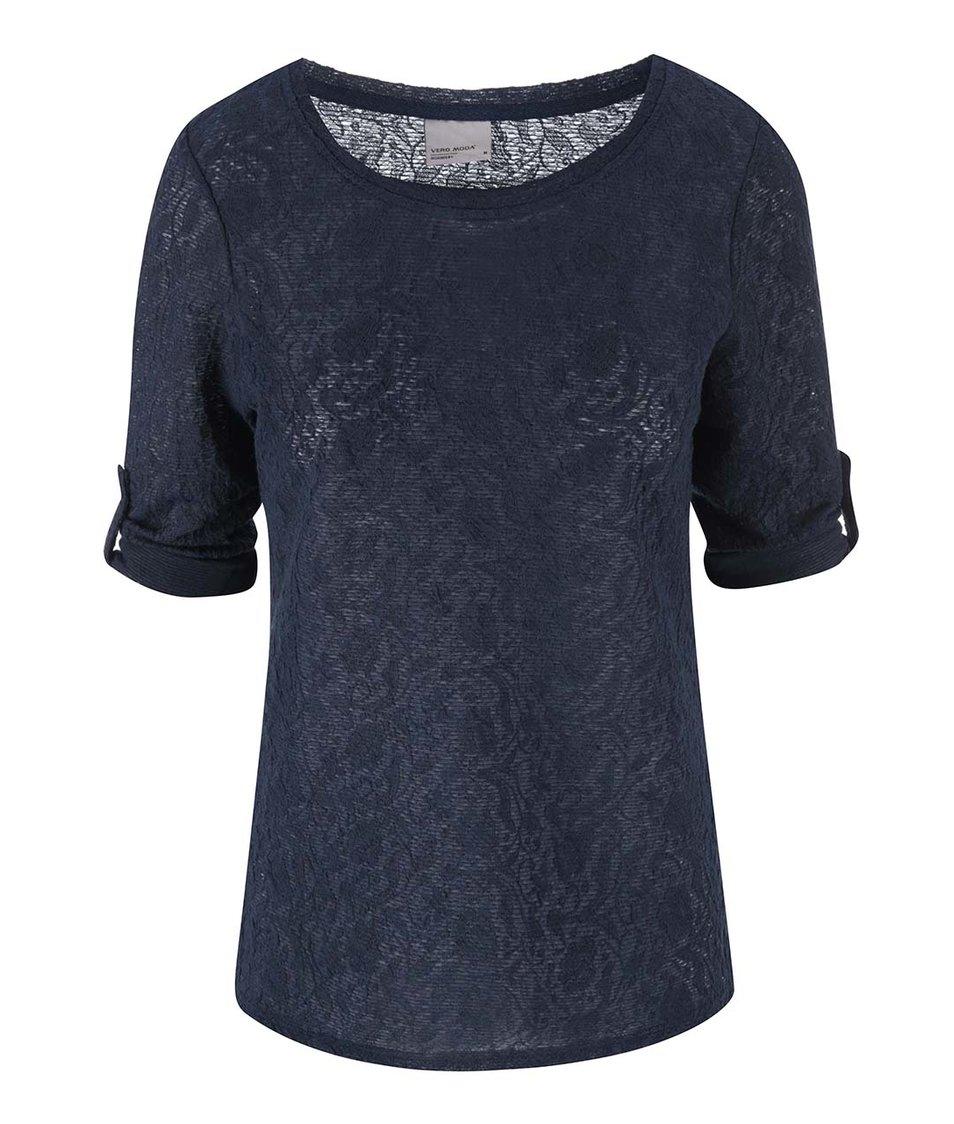 Tmavě modré tričko s 3/4 rukávem Vero Moda Rosalie