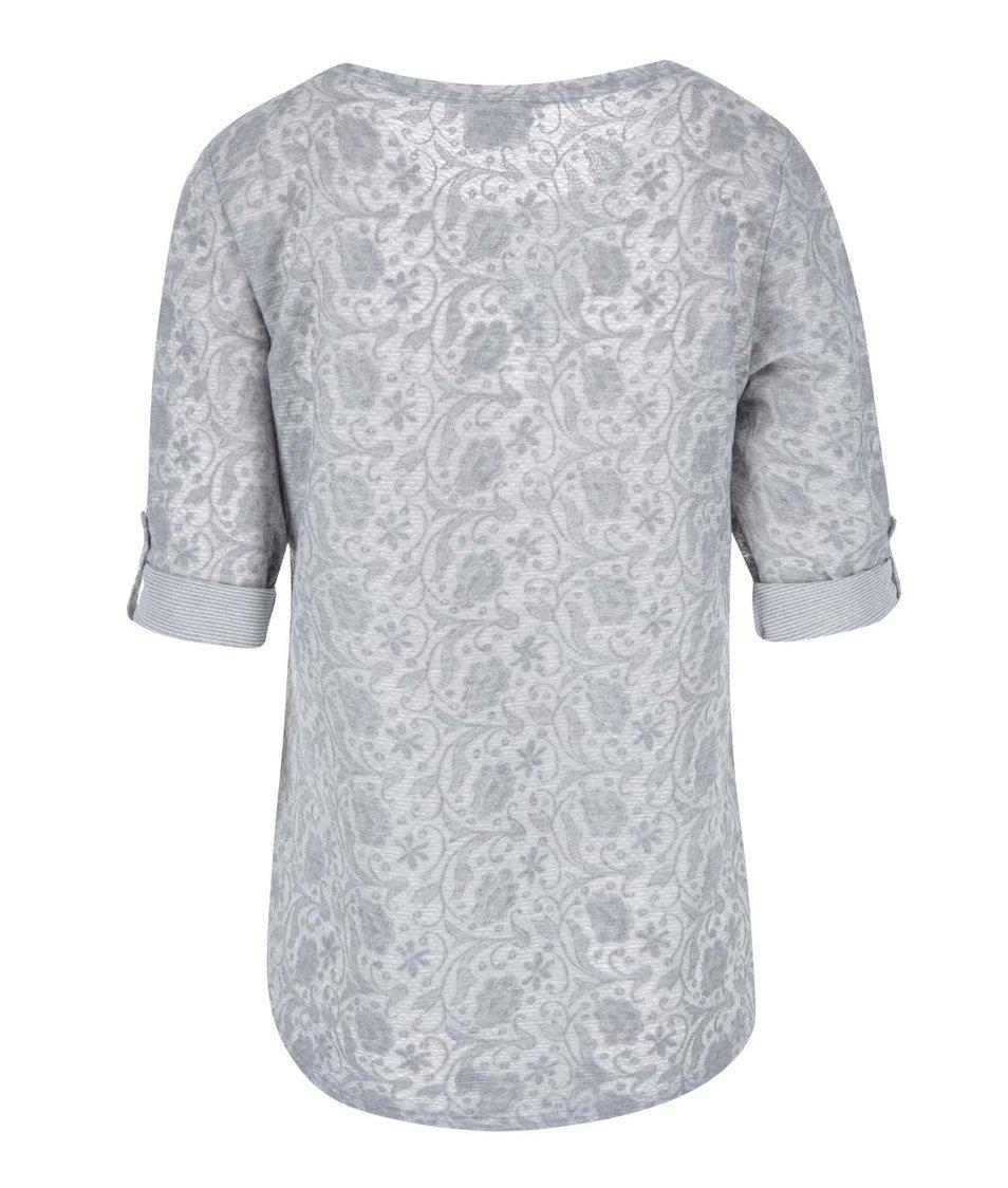 Světle šedé tričko s 3/4 rukávem Vero Moda Rosalie