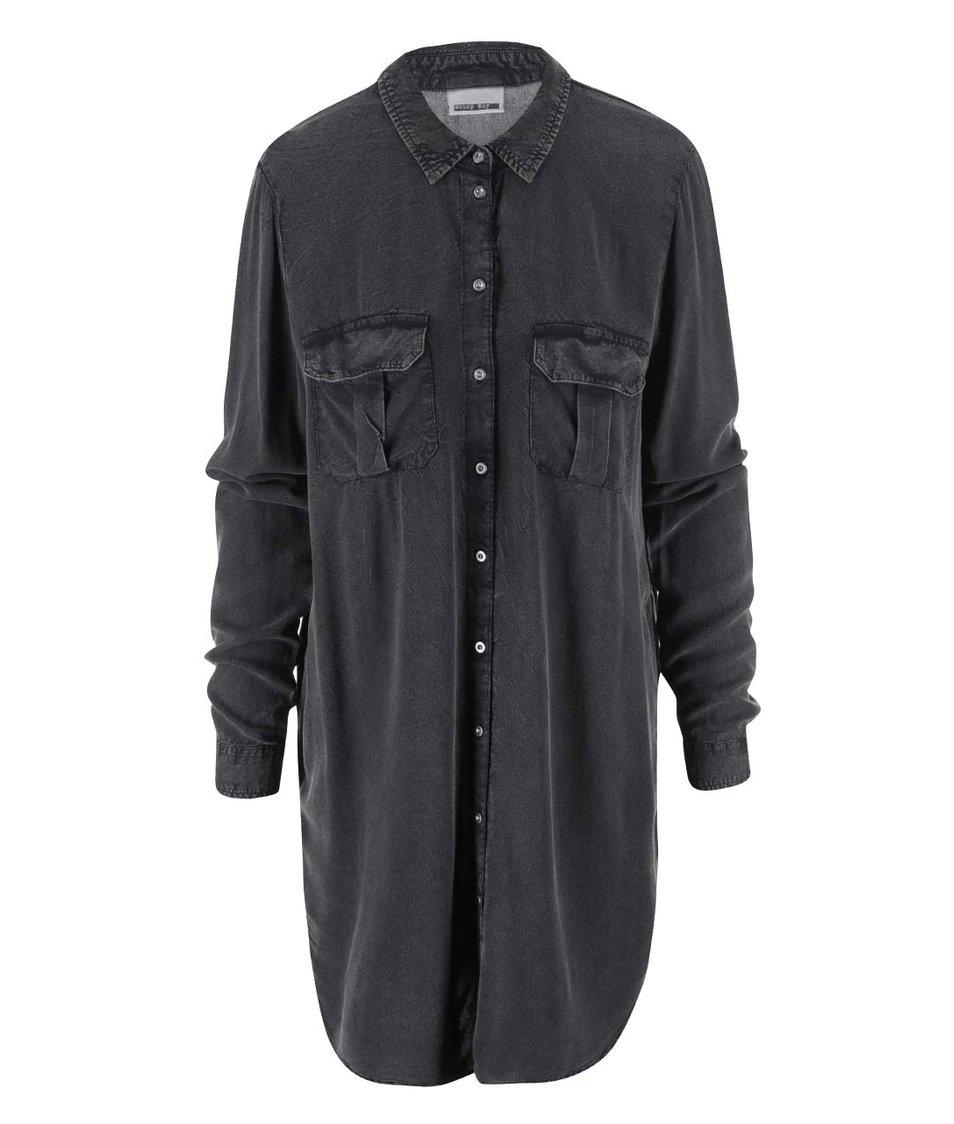 Černá dlouhá košile s kapsami Noisy May Mano