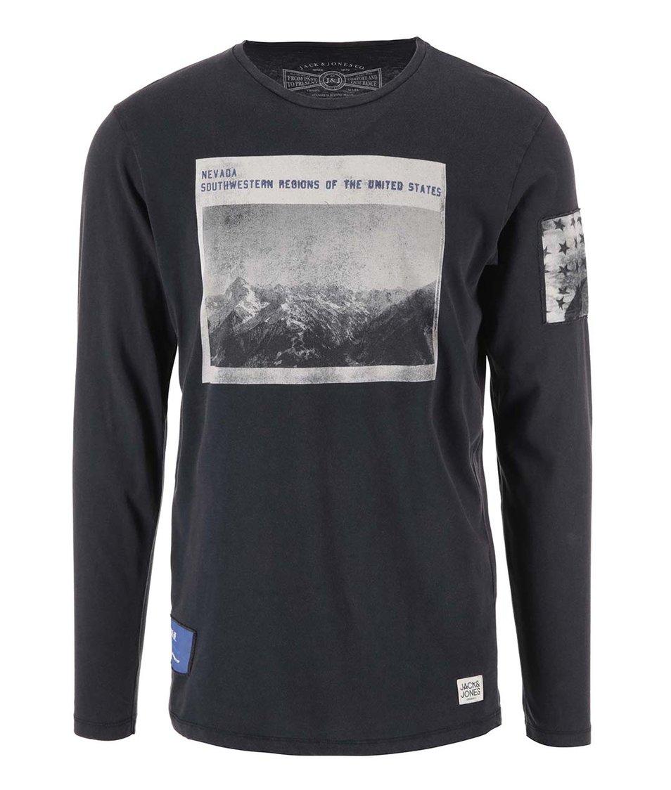 Tmavě modré triko s dlouhým rukávem Jack & Jones Lost