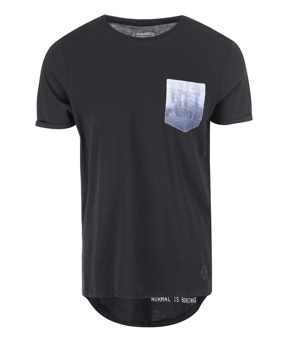 Černé triko s kapsičkou Jack & Jones Pock