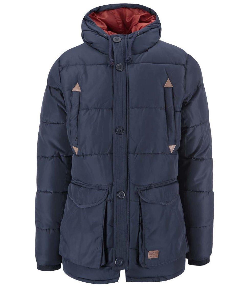 Tmavě modrá dlouhá prošívaná zimní bunda Blend