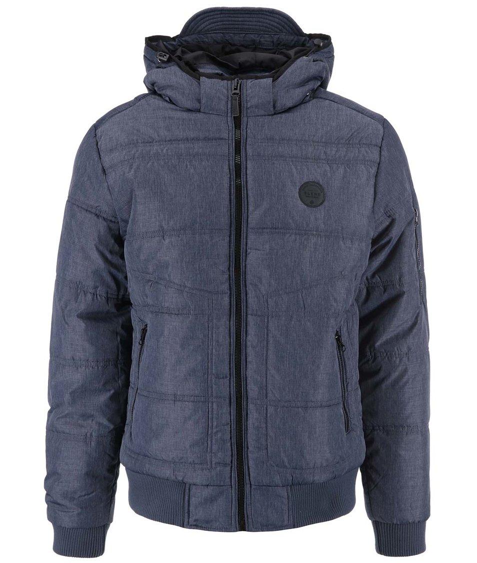 Šedomodrá pánská prošívaná bunda s kapucí Blend