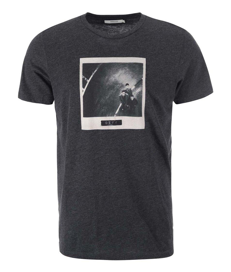 Tmavě šedé triko s potiskem Jack & Jones Frame