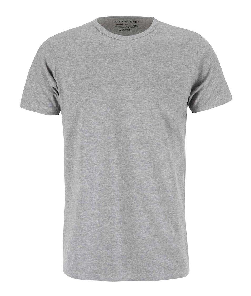 Šedé triko s krátkým rukávem Jack & Jones Basic