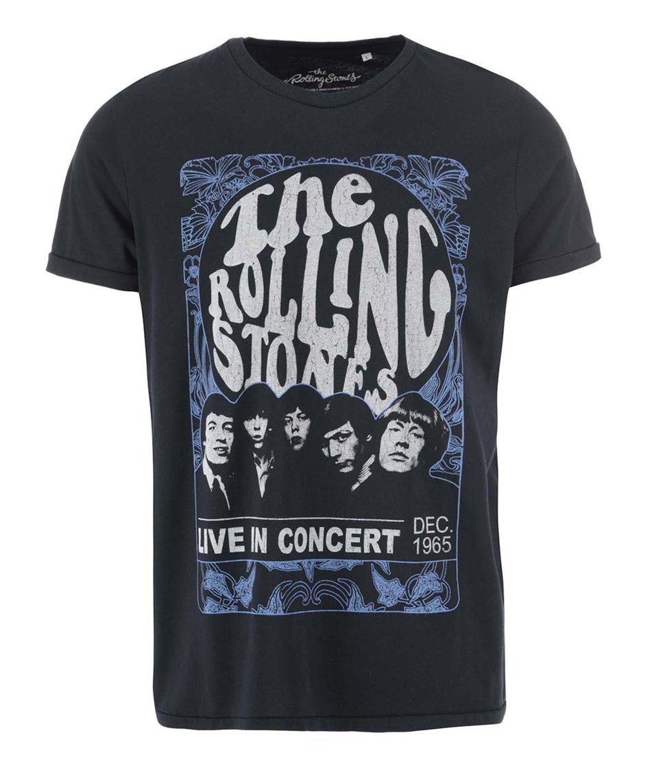 Tmavě modré triko s potiskem Jack & Jones Rolling Stones