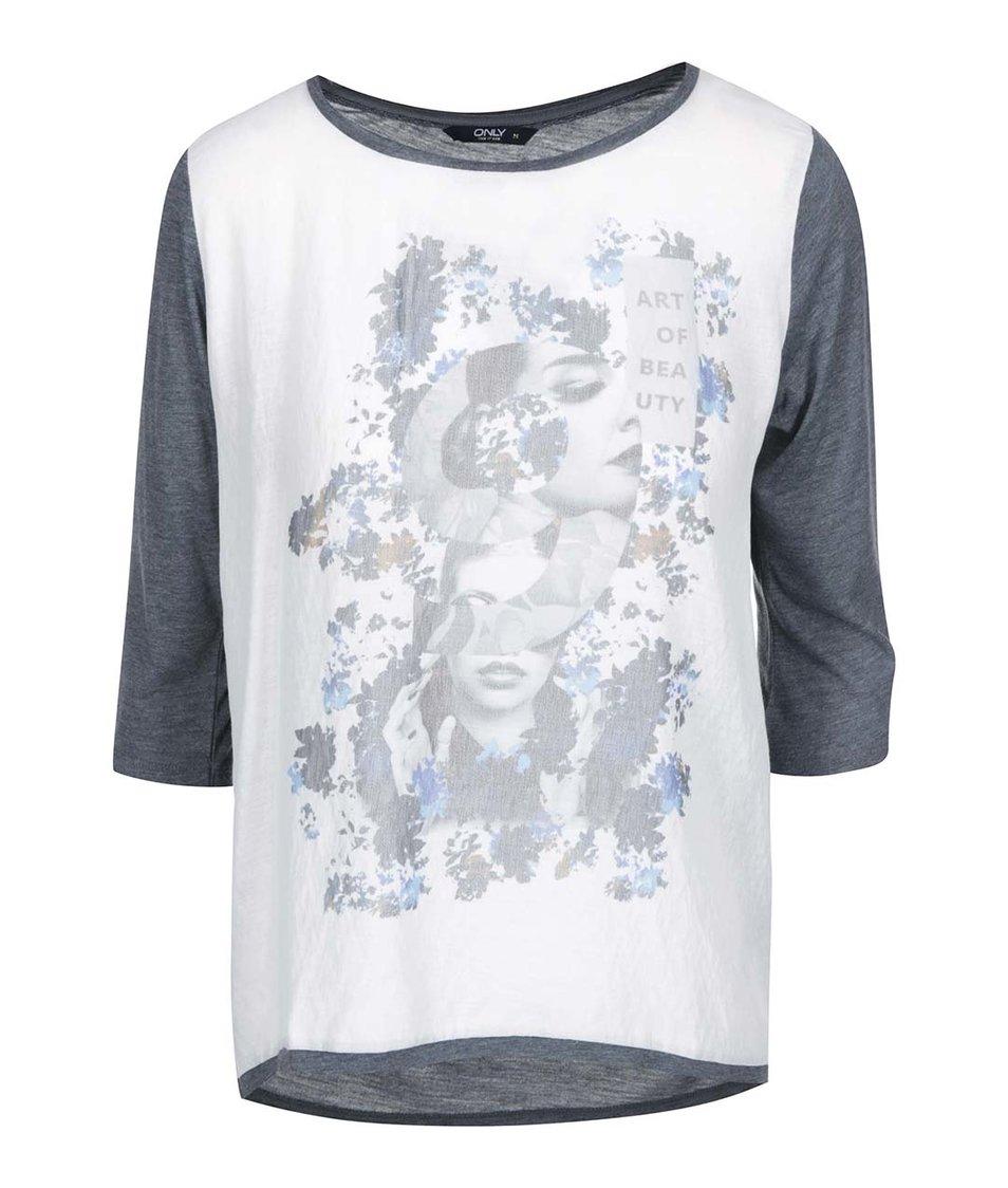 Modrošedé tričko s potiskem ONLY Pennie
