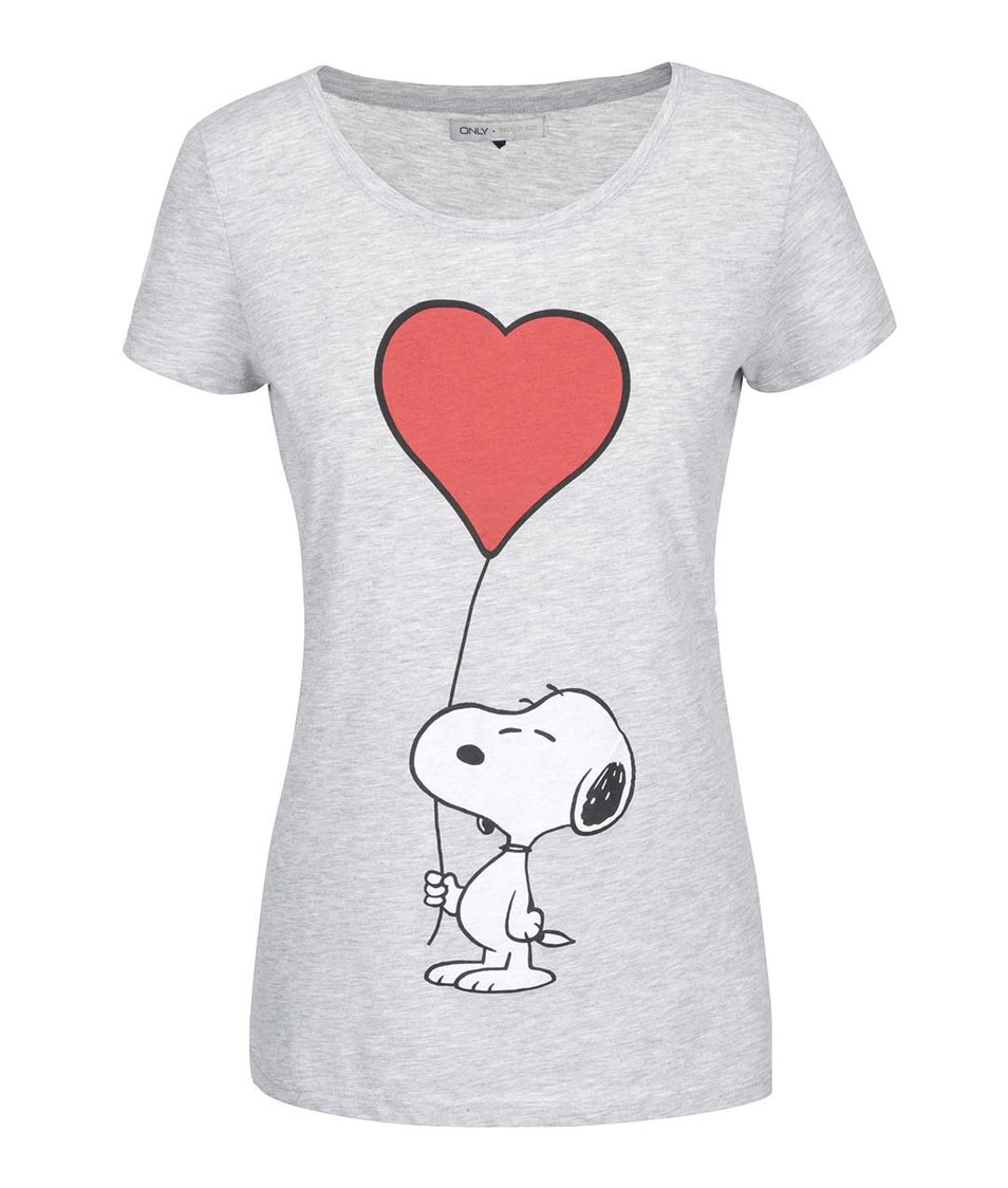 Šedé tričko s potiskem ONLY Snoopy