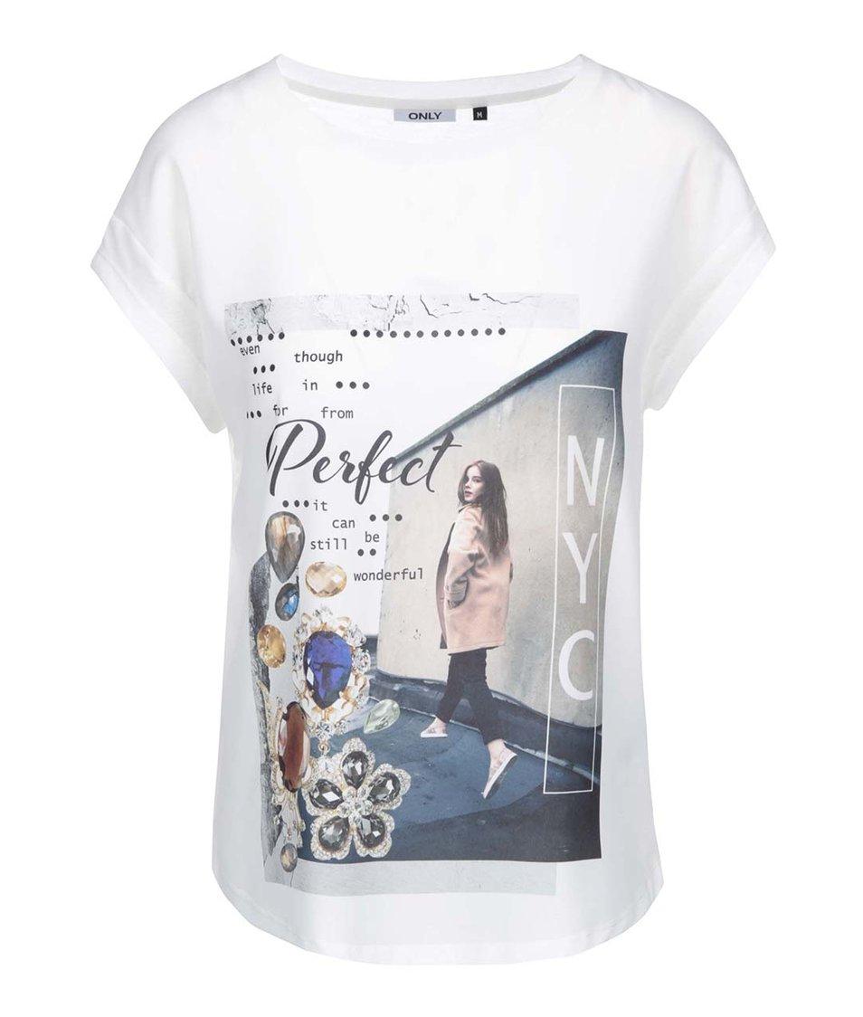 Bílé volnější tričko s potiskem ONLY Perfect NY