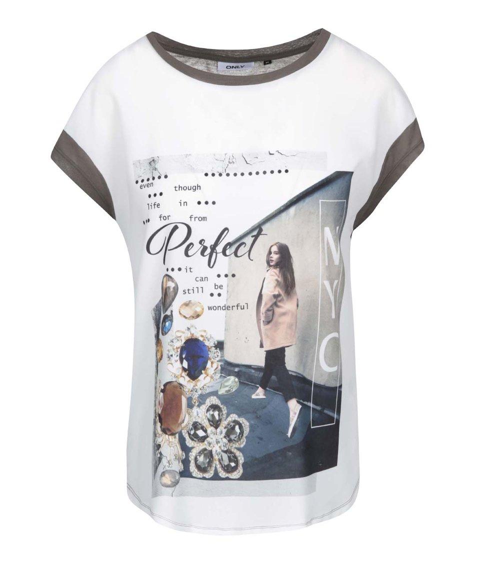 Šedé volnější tričko s potiskem ONLY Perfect NY