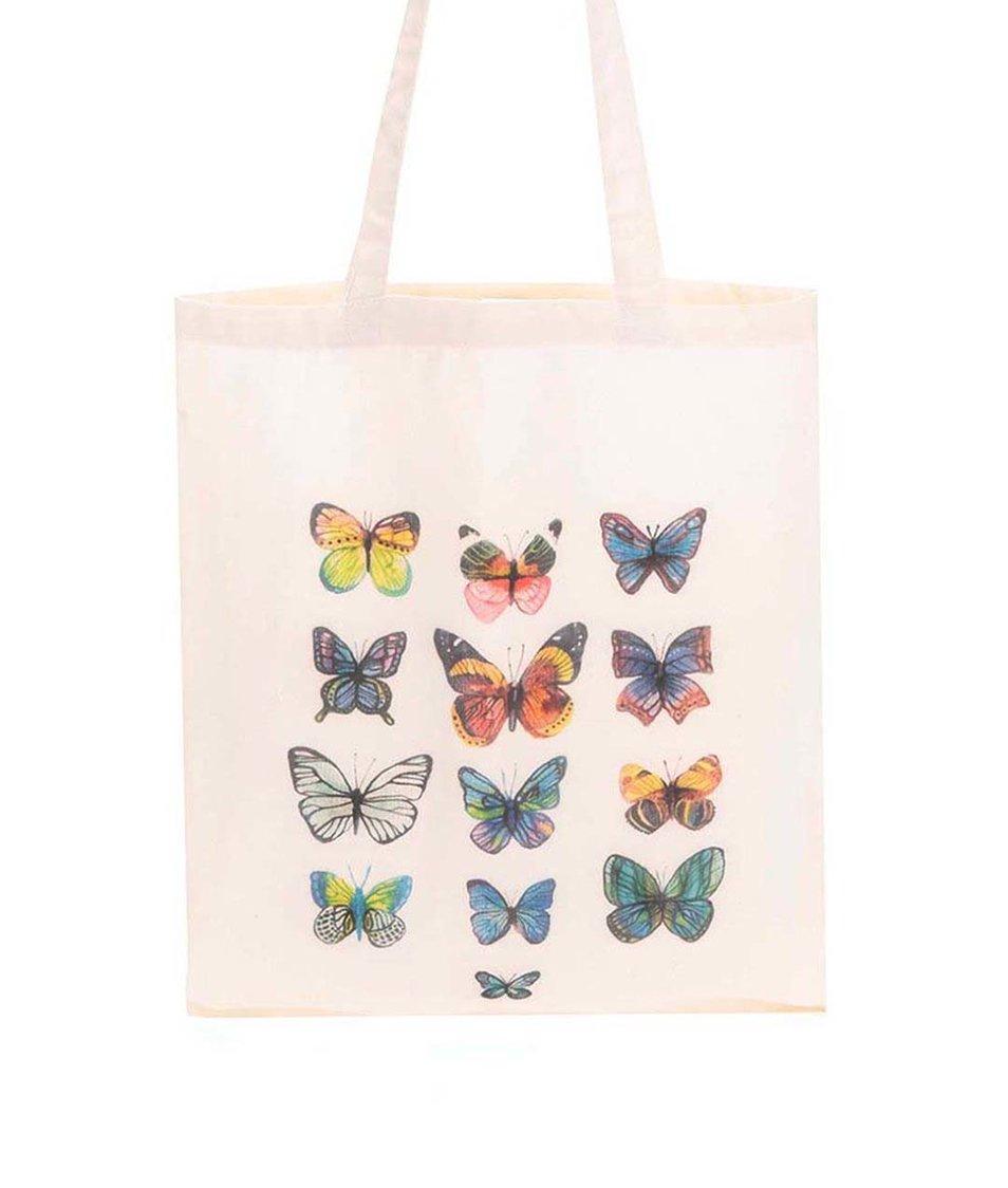 Krémová plátěná taška ZOOT Lokál Motýli
