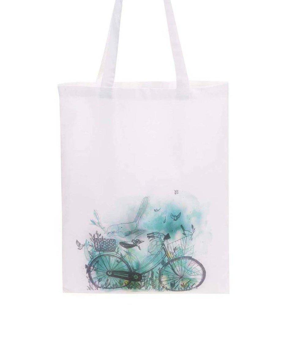 Bílá plátěná taška ZOOT Lokál Kolo