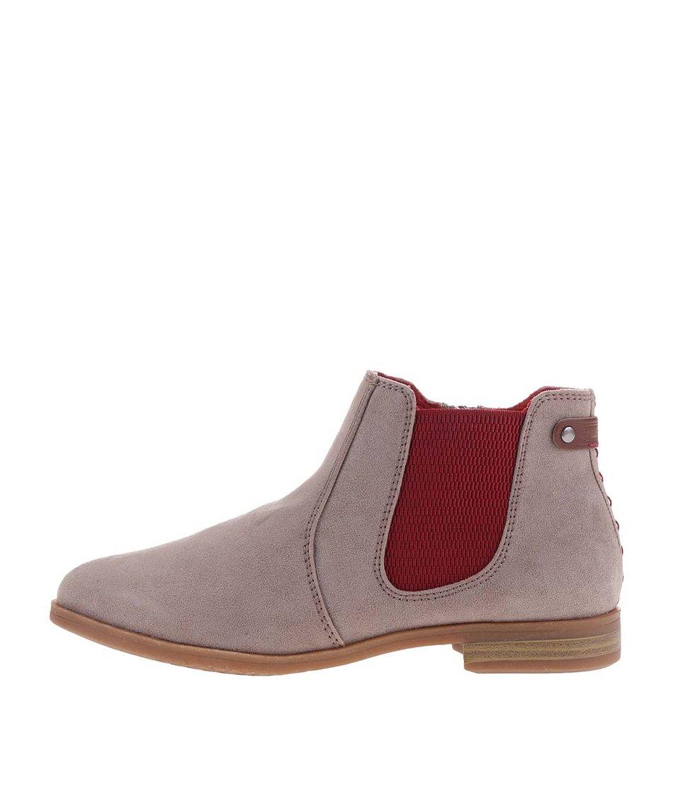 Červeno-šedé dámské kožené nazouvací boty s.Oliver