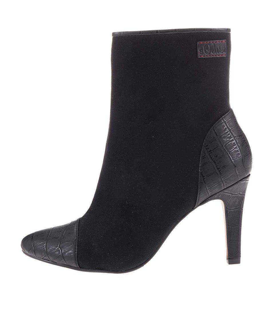 Černé vyšší kotníkové boty na podpatku s.Oliver