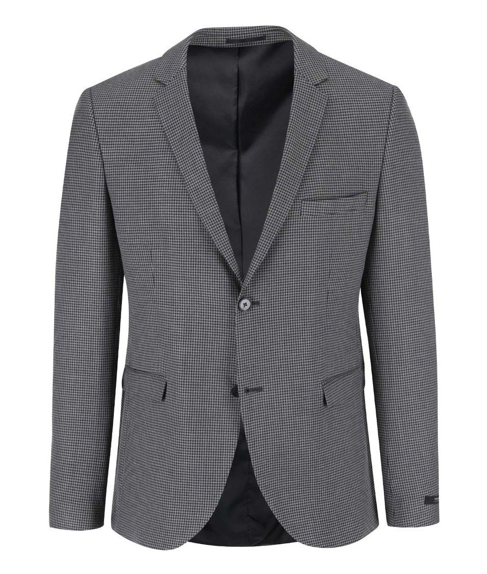 Černo-šedý slim fit blejzr s kohoutí stoupou Jack & Jones Roy