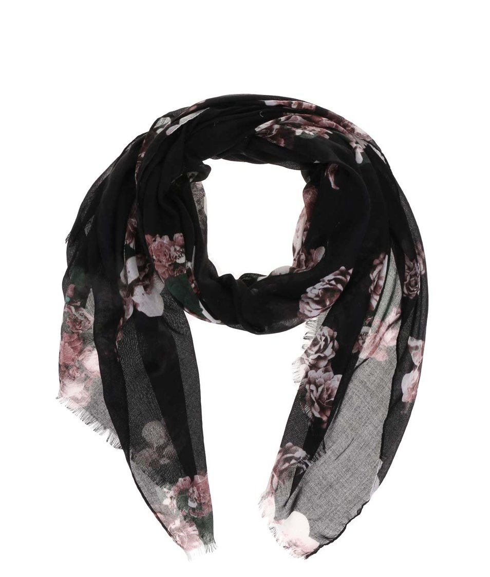 Černý květovaný šátek s.Oliver