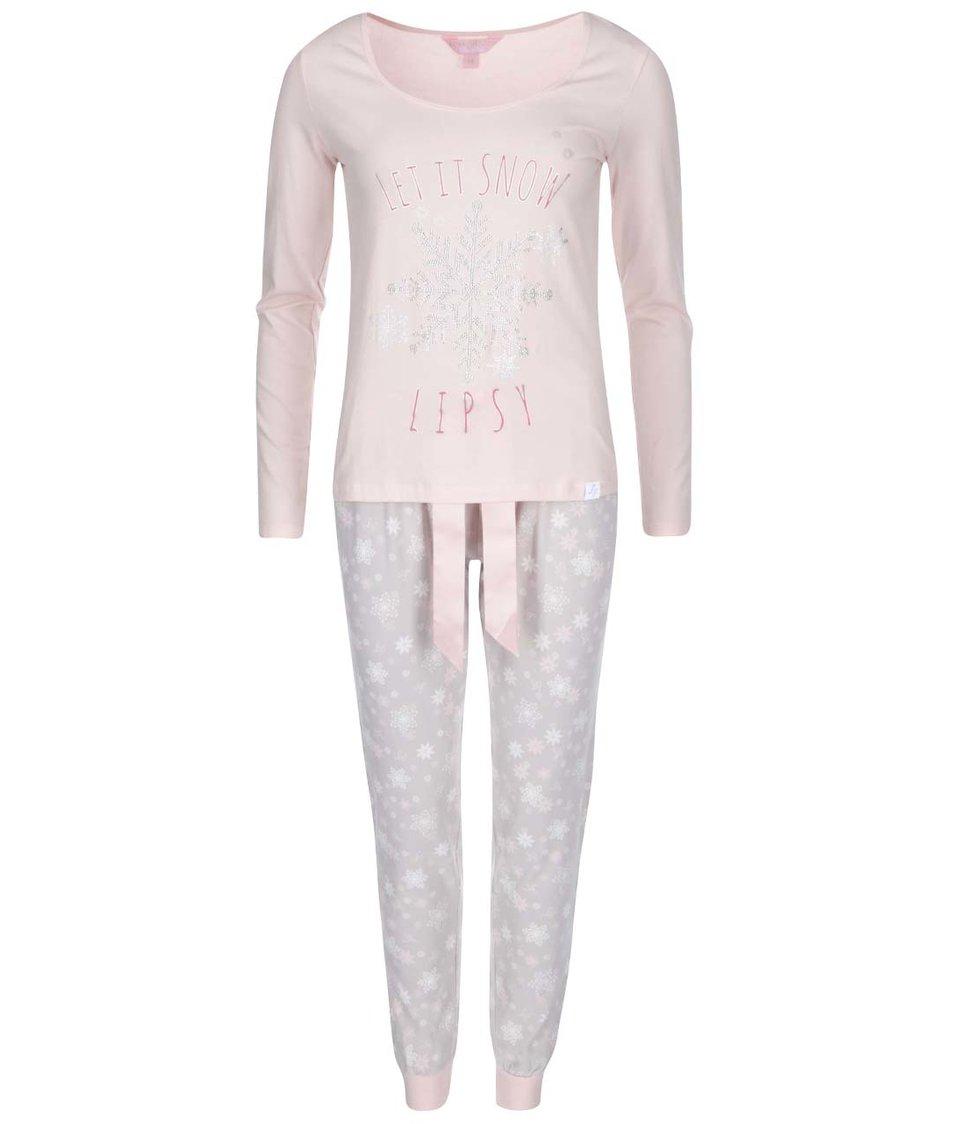 Růžové  pyžamo s šedými kalhoty Lipsy Let is snow