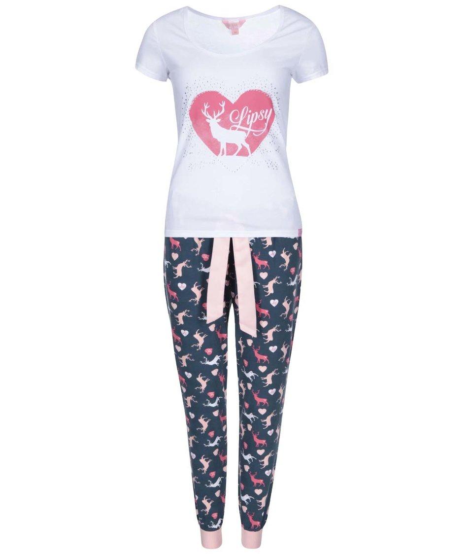 Modro-bílé dámské pyžamo s jeleny Lipsy