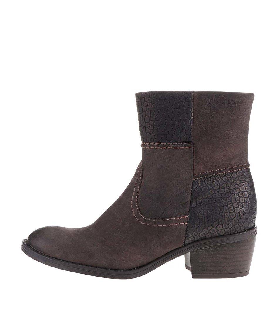Tmavě hnědé dámské kožené kotníkové boty s.Oliver