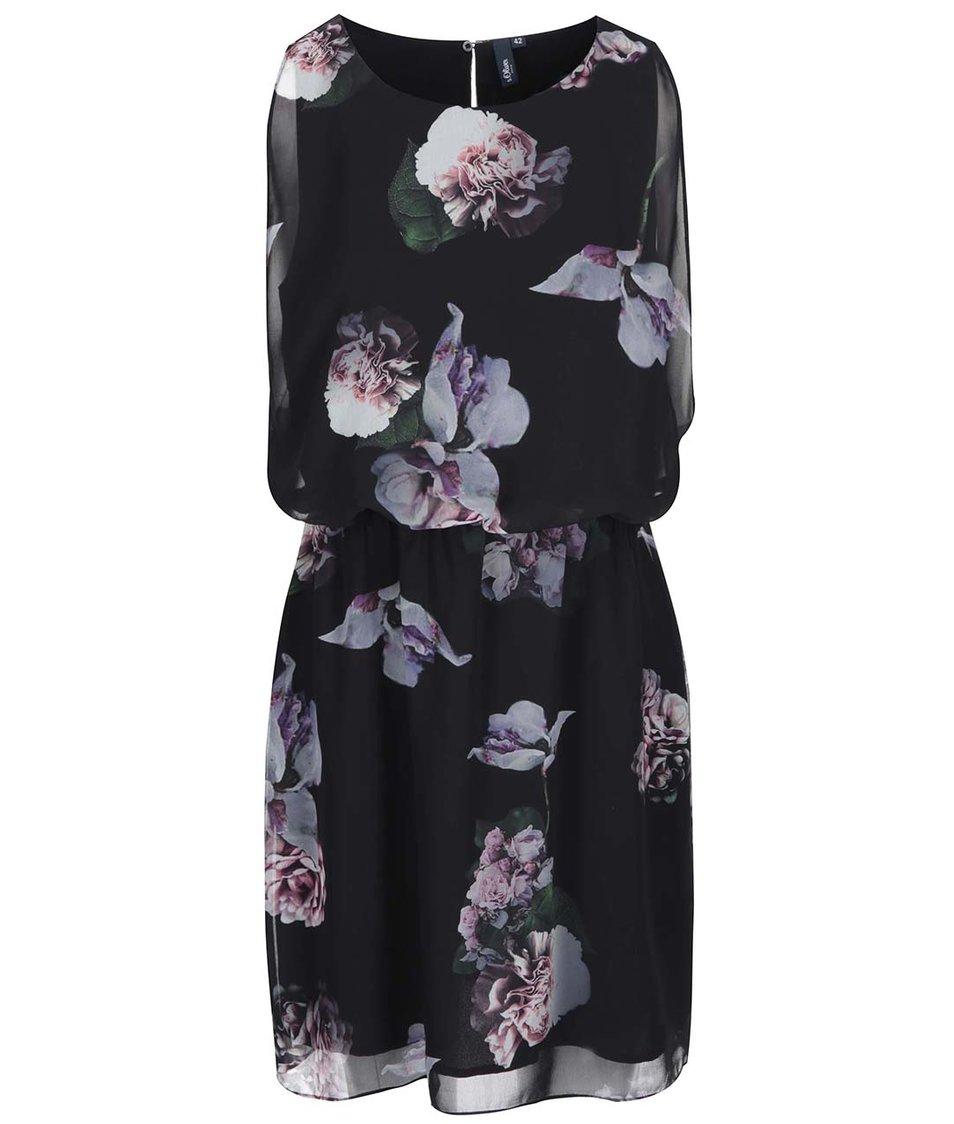 Černé květované šaty s.Oliver