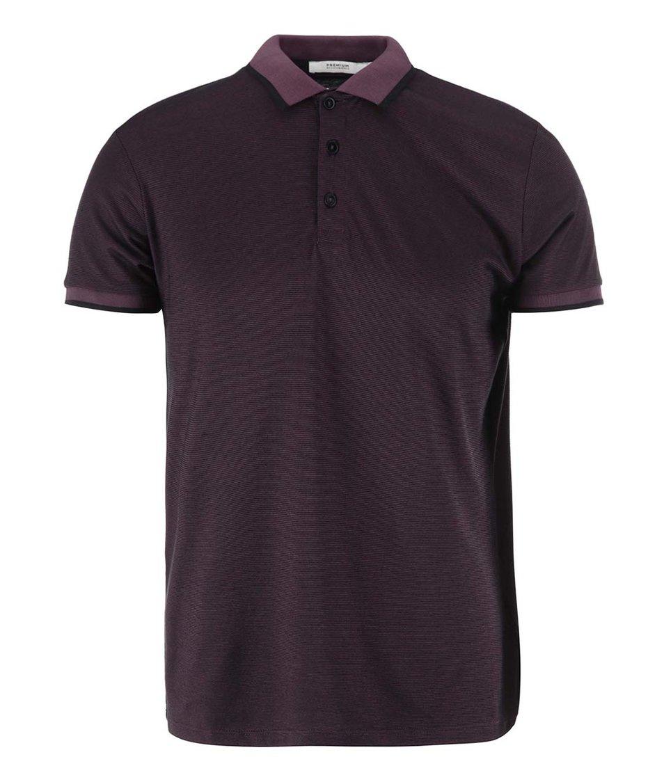 Černo-vínové pruhované polo triko Jack & Jones Frank