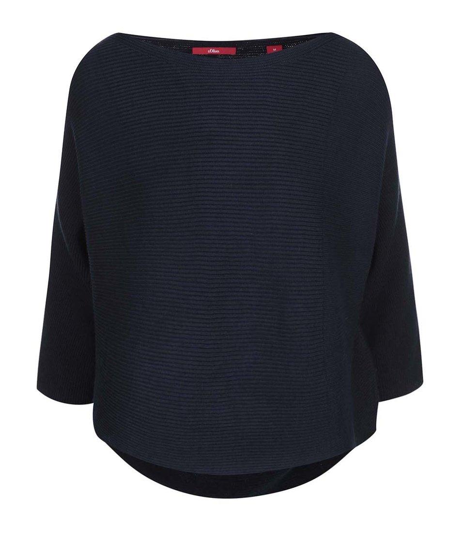 Tmavě modrý svetr s kimonovými rukávy s.Oliver