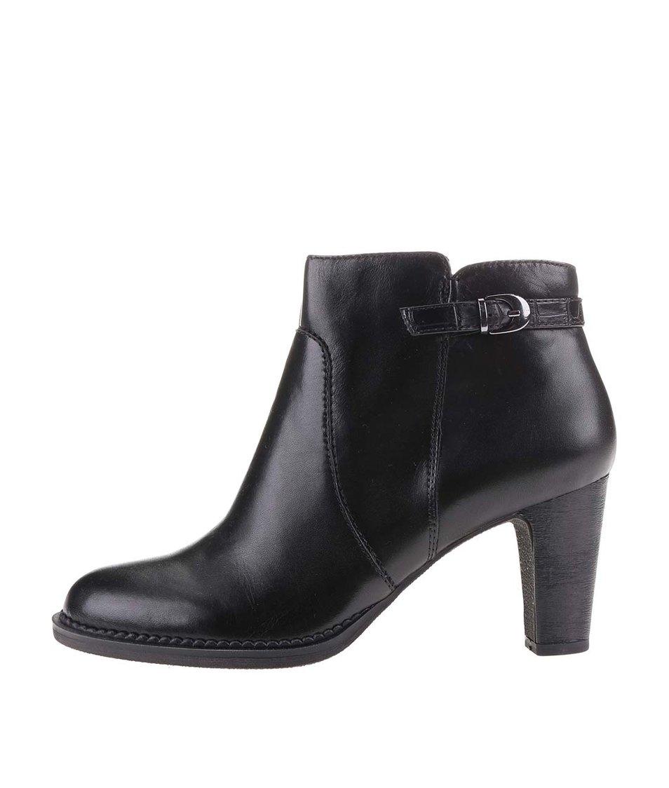 Černé dámské kožené kotníkové boty s přezkou  s.Oliver