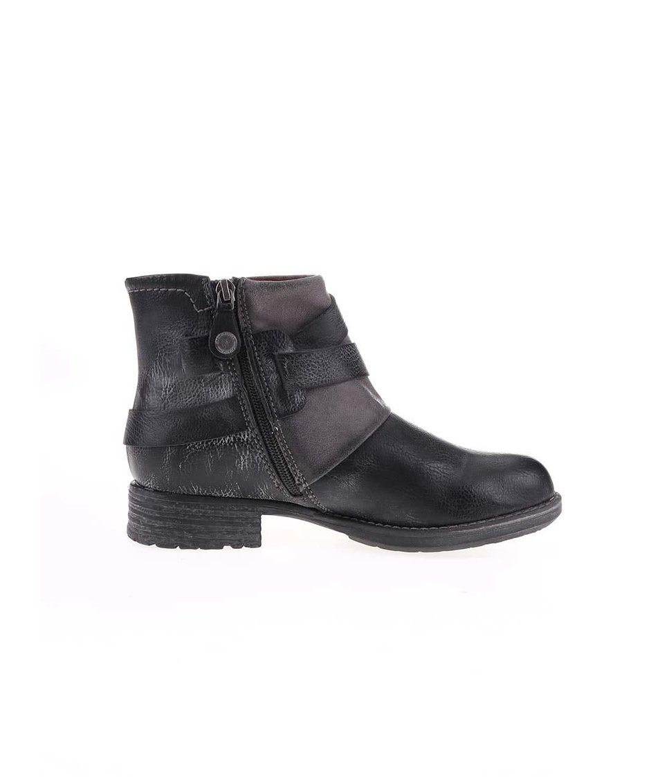 Černé dámské kotníkové boty s přezkou a pásky s.Oliver