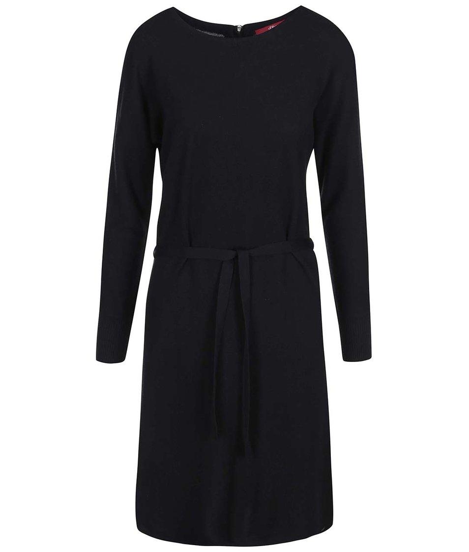 Černé úpletové šaty s dlouhým rukávem s.Oliver