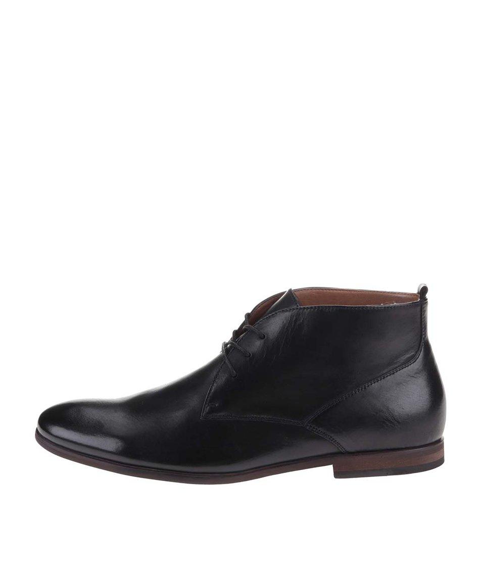 Černé pánské kožené kotníkové boty ALDO Mireama