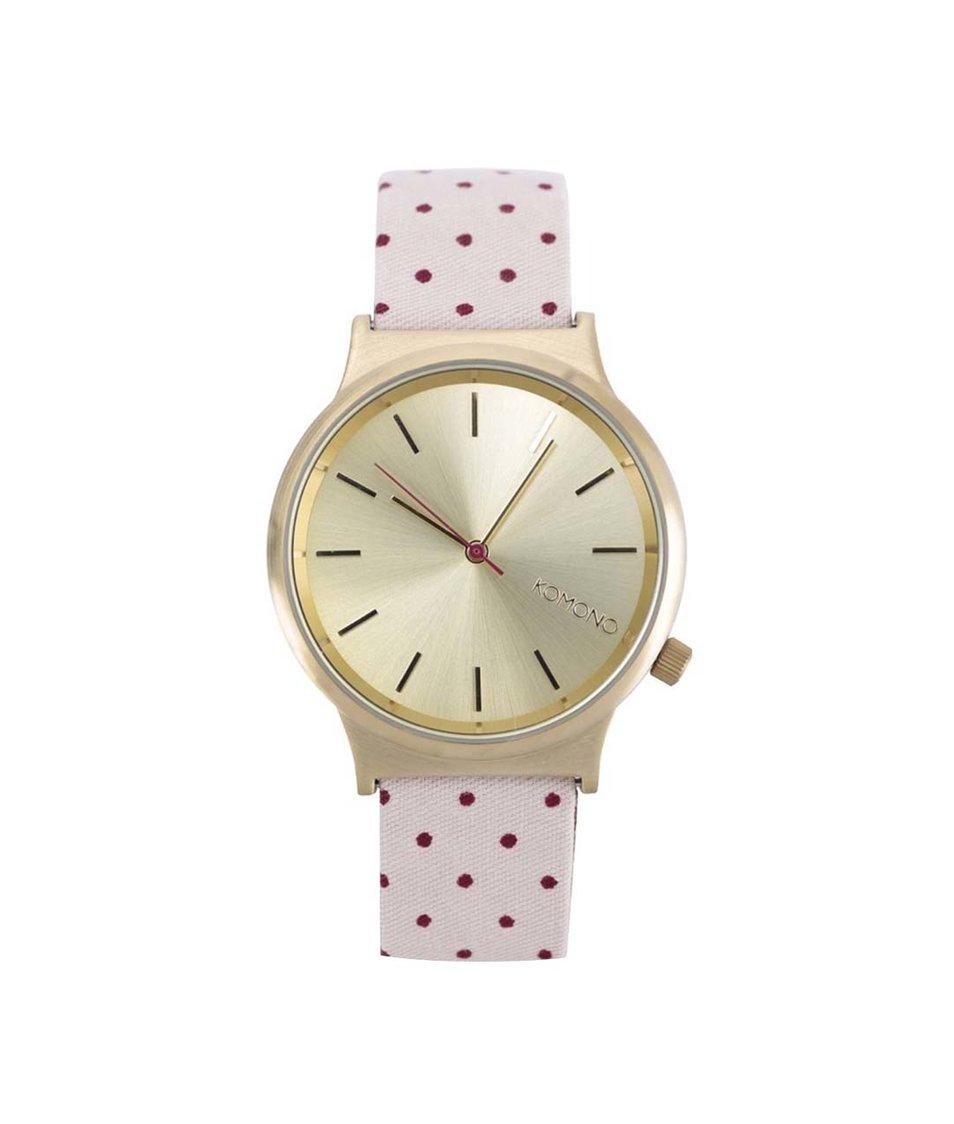Růžové puntíkované dámské hodinky Komono Wizard Print