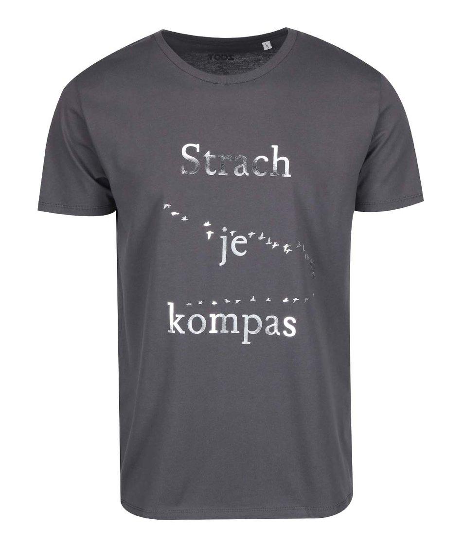 Tmavě šedé pánské triko ZOOT Lokál Strach je kompas