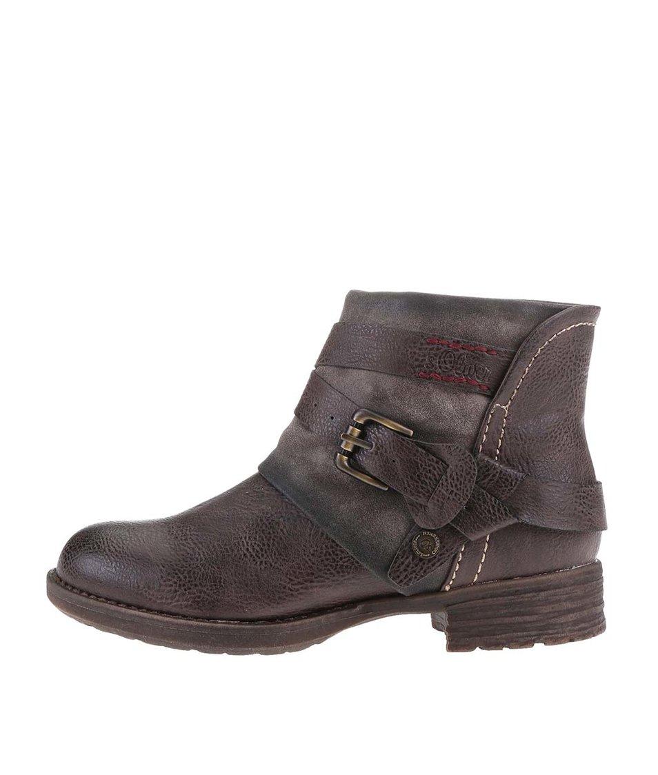 Hnědé dámské kotníkové boty s přezkou a pásky s.Oliver