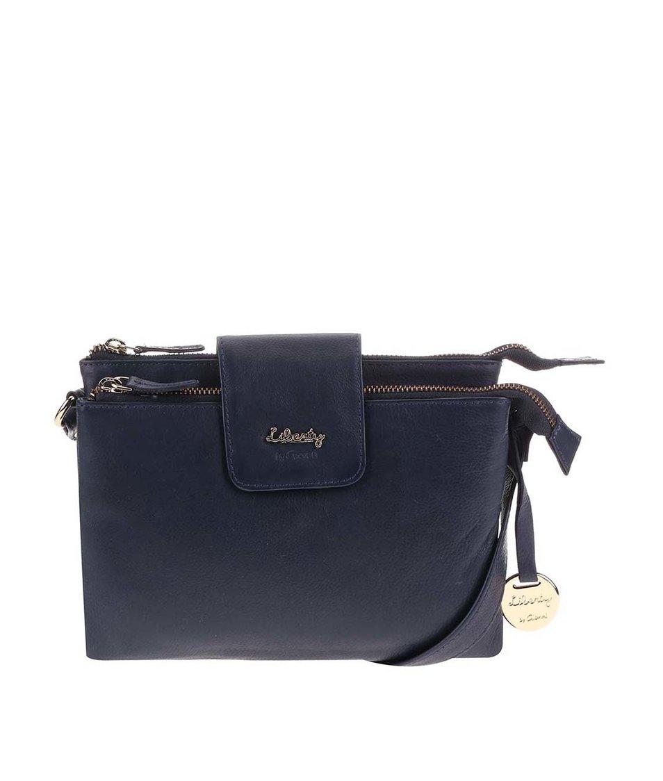 Tmavě modrá kožená kabelka přes rameno Liberty by Gionni Shaula
