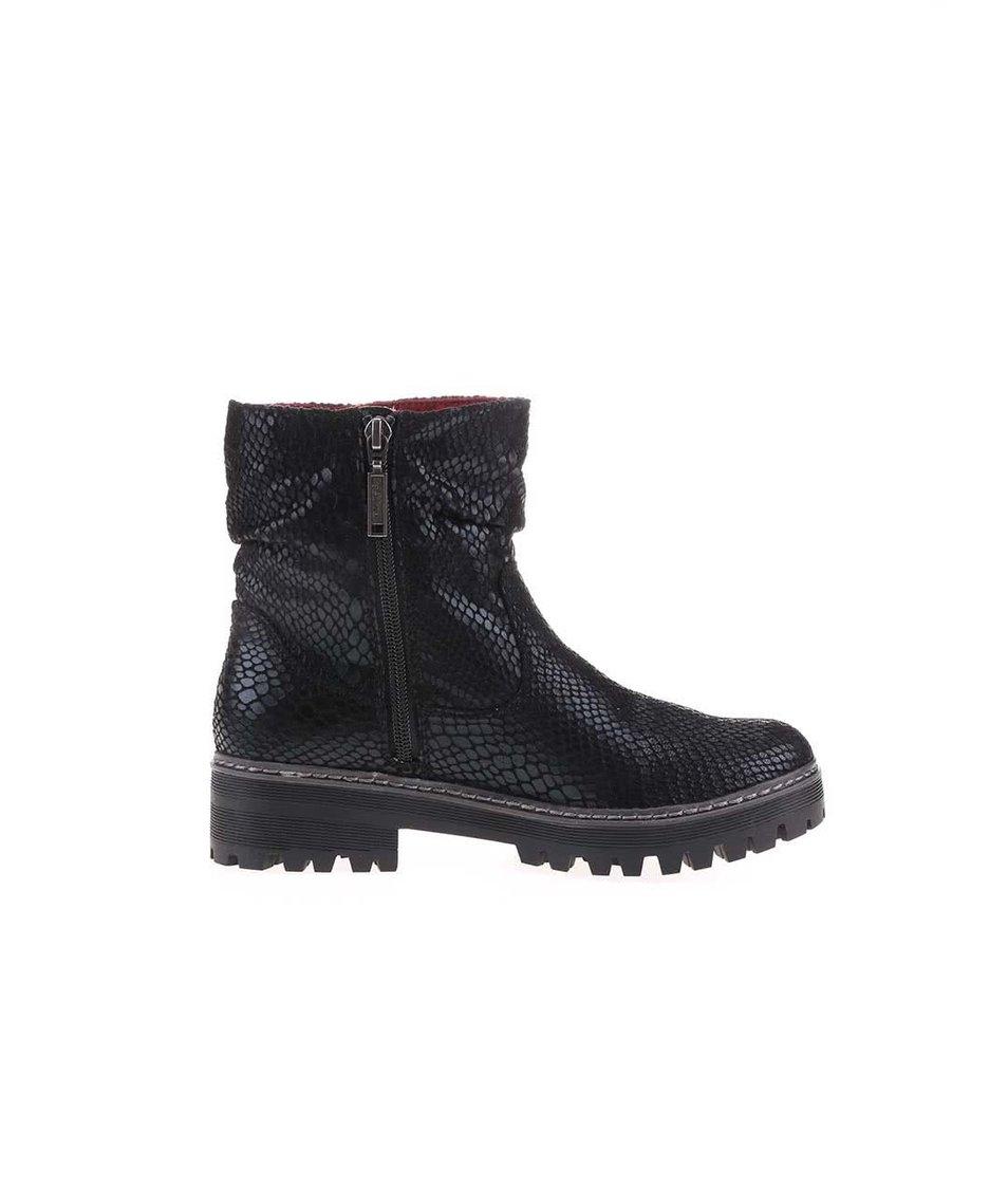 Černé dámské vyšší kotníkové boty s texturou s.Oliver